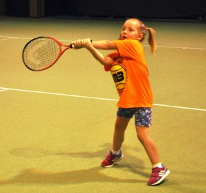 Ewa (5y 10m / POL) - Two-handed backhand 3.0 with the foam ball FB-90 Green