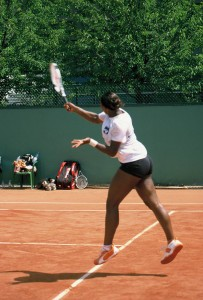 Serena Williams (*81 / USA) - Forehand 3.0 in the practice - follow through - 2003 French Open - Paris