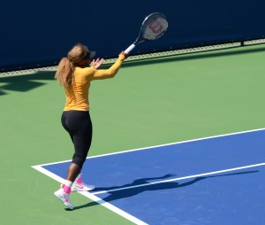 Serena Williams (*81 / USA) - Forehand 3.0 in the practice - follow through - 2014 US.Open - New York