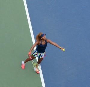 Naomi Osaka (*97 / JPN) - 1st serve - deuce side - 2016 US.Open