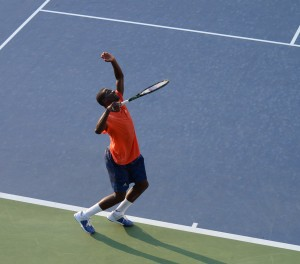 Frances Tiafoe (*98 / USA) - 1st service in practice 1of 4 - start - 2015 US.Open