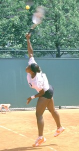 Serena Williams (*81 / USA) - 1st service in the practice - 1 of 1 - impact - 2003 French Open - Paris / France