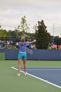 Petra Kvitova (*90 / CZE) - Leftie Service 3.0 in the practice - 1 of 1 - follow through 1 - 2011 Cincinnati Masters, OH / USA