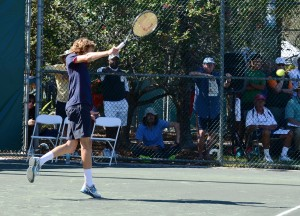 Stefanos Tsitsipas (*98 / GRE) - 1-handed backhand 3.0 in a match - 1 of 4 - backswing - 2014 Orange Bowl - Plantation, FL / USA